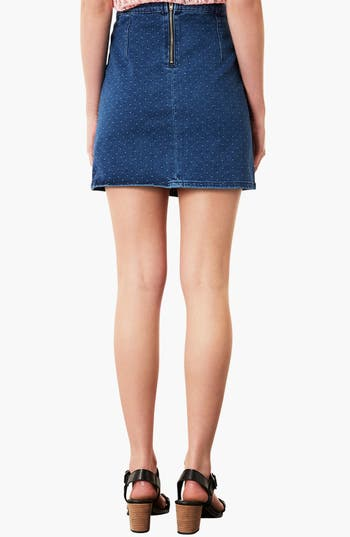 Alternate Image 2  - Topshop Moto Dobby Denim Skirt