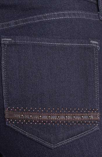 Alternate Image 2  - NYDJ 'Marilyn' Embellished Pocket Stretch Straight Leg Jeans (Dark Enzyme) (Regular & Petite)