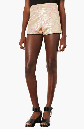 Alternate Image 1 Selected - Topshop Metallic Jacquard Shorts