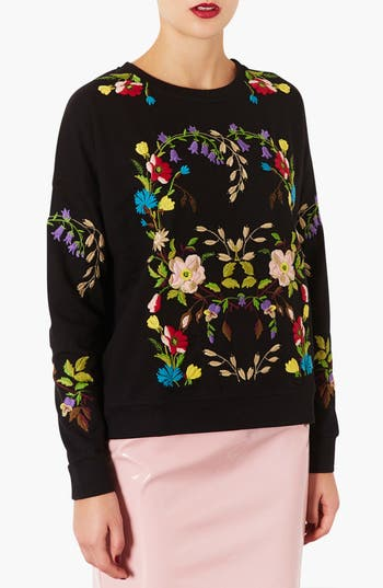 Main Image - Topshop Embroidered Floral Sweatshirt