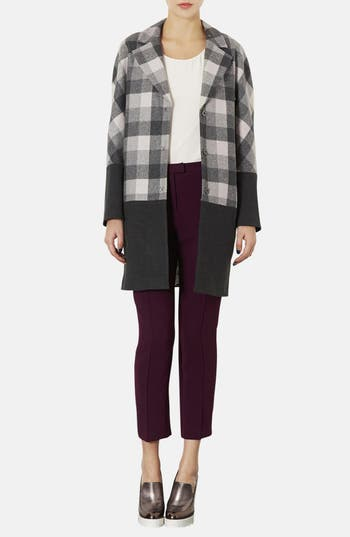 Alternate Image 4  - Topshop Contrast Trim Check Boyfriend Coat