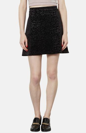 Main Image - Topshop Animal Pattern Velvet A-Line Skirt