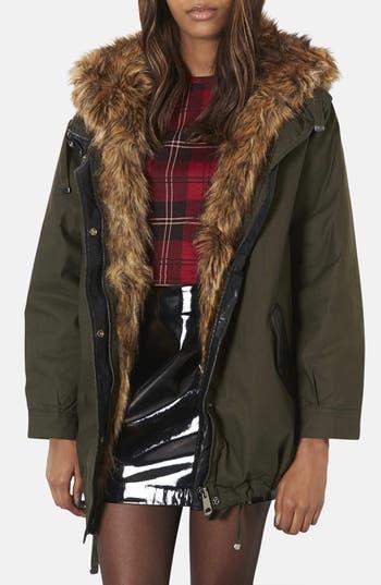 Main Image - Topshop 'Monroe' Faux Fur Trim Parka