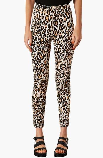 Main Image - Topshop Animal Print Skinny Trousers