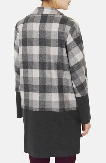 Alternate Image 2  - Topshop Contrast Trim Check Boyfriend Coat
