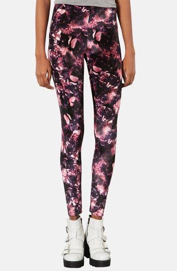 Alternate Image 1 Selected - Topshop Floral Velvet Leggings