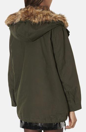 Alternate Image 2  - Topshop 'Monroe' Faux Fur Trim Parka