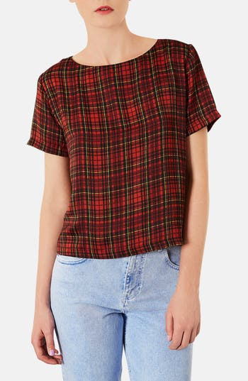 Alternate Image 1 Selected - Topshop Tartan Plaid Tee