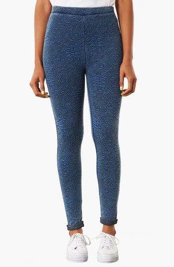 Alternate Image 1 Selected - Topshop Floral Jacquard Denim Leggings