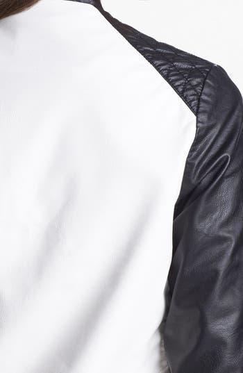 Alternate Image 3  - Jolt Faux Leather Colorblock Jacket (Juniors)