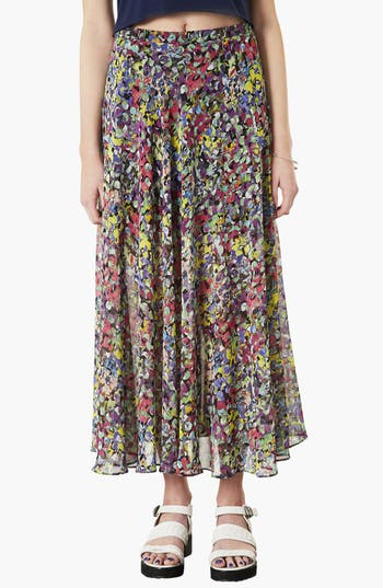 Main Image - Topshop 'Dot Floral' Print Maxi Skirt