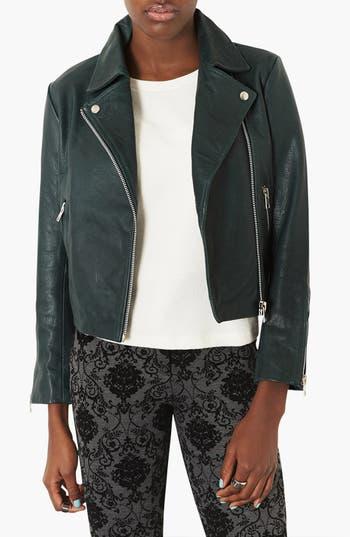 Main Image - Topshop 'Caddy' Leather Moto Jacket