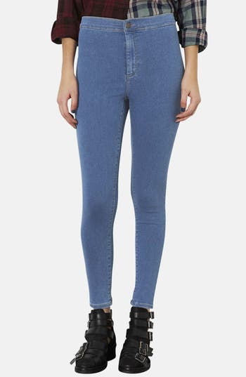 Alternate Image 1 Selected - Topshop Moto 'Joni' High Rise Skinny Jeans (Mid Stone) (Petite)