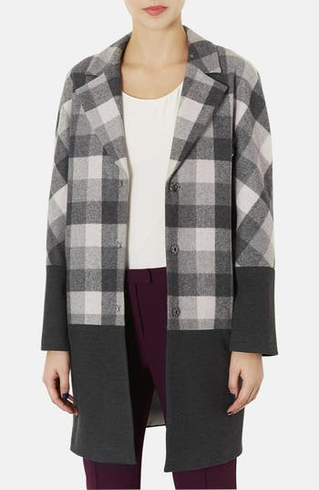 Main Image - Topshop Contrast Trim Check Boyfriend Coat