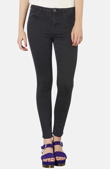 Main Image - Topshop Moto 'Jamie' High Rise Skinny Jeans (Black) (Short)