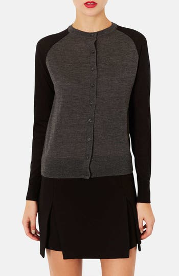 Alternate Image 1 Selected - Topshop Two-Tone Merino Wool Cardigan