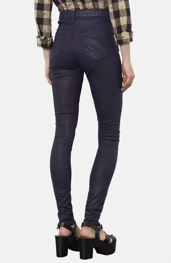 Alternate Image 2  - Topshop Moto 'Leigh' Coated High Rise Skinny Jeans (Navy Blue) (Short)