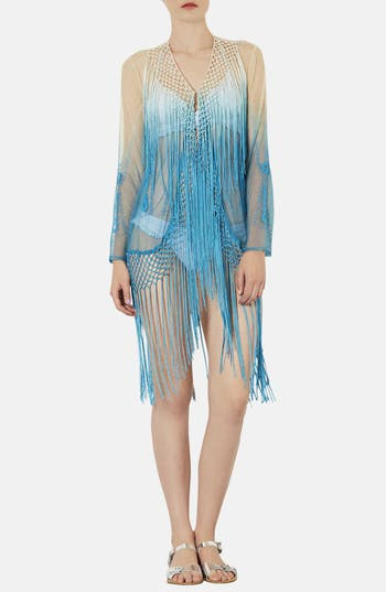 Main Image - Topshop Embroidered Fringed Cover-Up