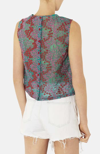 Alternate Image 2  - Topshop Floral Embroidered Shell