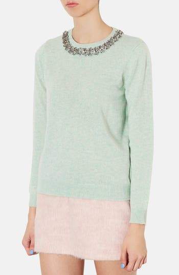 Alternate Image 1 Selected - Topshop Embellished Neckline Sweater
