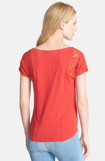 Alternate Image 2  - Lucky Brand Patchwork Lace Front Top
