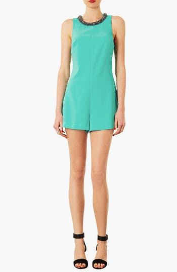 Alternate Image 1 Selected - Topshop Embellished Neck Romper