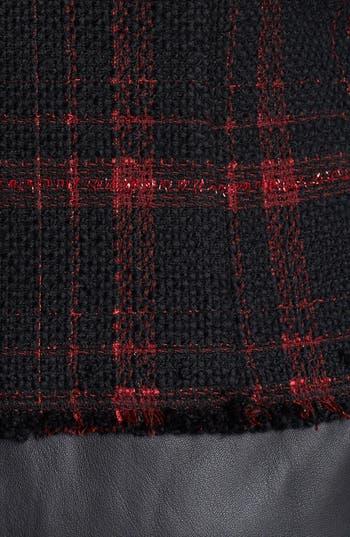 Alternate Image 3  - Lafayette 148 New York 'Cecille' Plaid Tweed & Leather Coat (Plus Size)