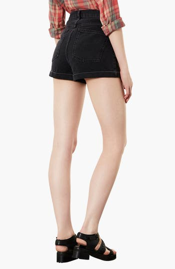 Alternate Image 2  - Topshop Moto 'Mom' High Rise Denim Shorts (Black)