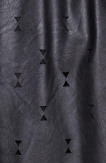 Alternate Image 3  - Blu Pepper Laser Cut Faux Leather Skater Skirt (Juniors)