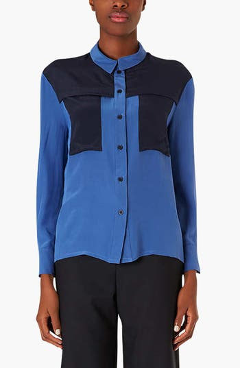 Main Image - Topshop Colorblock Silk Shirt