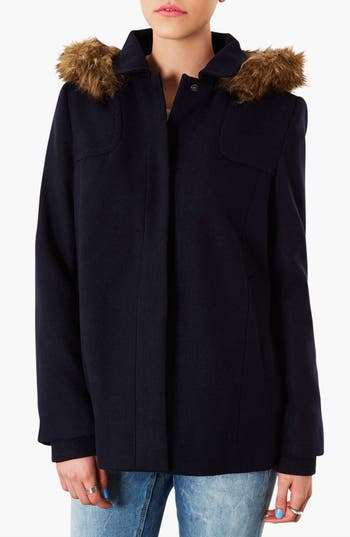 Main Image - Topshop 'Edie' Faux Fur Trim Coat