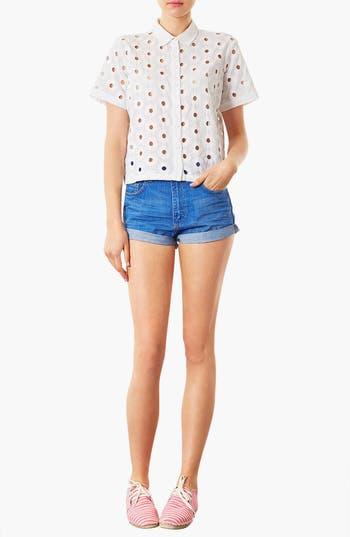 Alternate Image 4  - Topshop Moto 'Polly' Denim Shorts