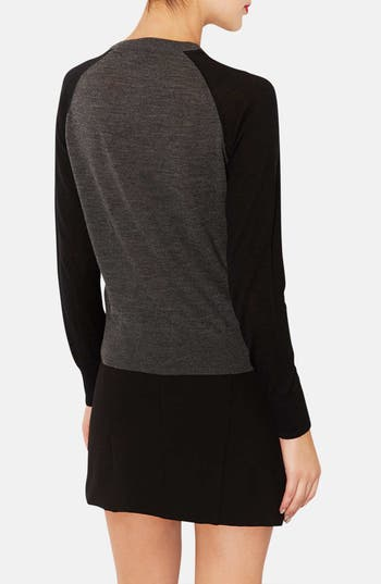 Alternate Image 2  - Topshop Two-Tone Merino Wool Cardigan