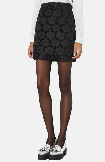 Main Image - Topshop Floral Textured Skirt