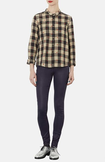Alternate Image 4  - Topshop Moto 'Leigh' Coated High Rise Skinny Jeans (Navy Blue) (Short)