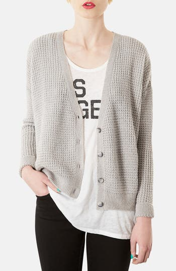 Alternate Image 1 Selected - Topshop 'Lulu' Textured Stitch Cardigan