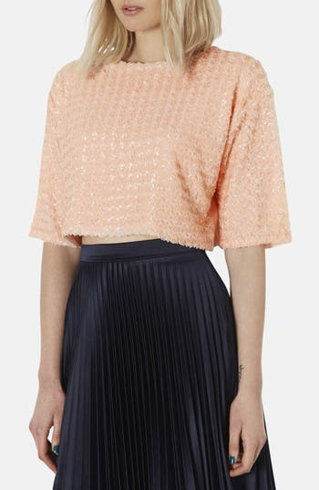 Main Image - Topshop 'Chateau' Sequin Crop Sweater
