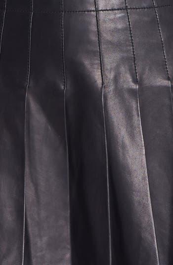 Alternate Image 4  - Alice + Olivia Pleated Leather Miniskirt