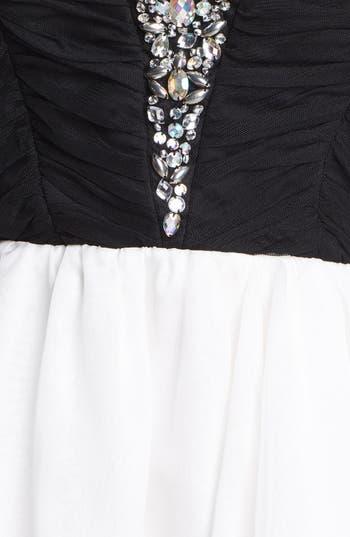Alternate Image 3  - Secret Charm Jeweled Mesh Fit & Flare Dress (Juniors) (Online Only)