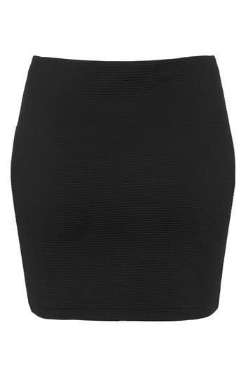 Alternate Image 2  - Topshop Ribbed Panel Miniskirt