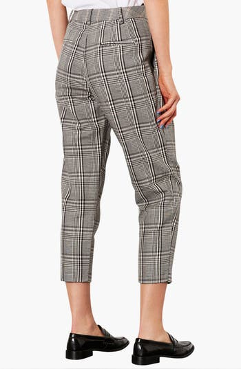 Alternate Image 2  - Topshop Plaid Tapered Crop Trousers