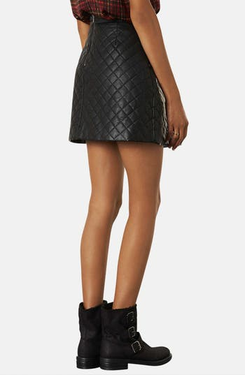 Alternate Image 2  - Topshop Quilted A-Line Skirt (Petite)