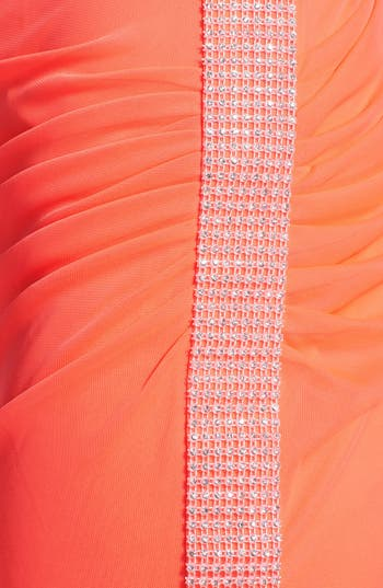 Alternate Image 3  - Hailey Logan Neon One-Shoulder Mesh Gown (Juniors) (Online Only)