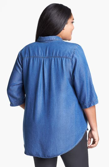 Alternate Image 2  - Lucky Brand 'Charleigh' Polka Dot Chambray Shirt (Plus Size)