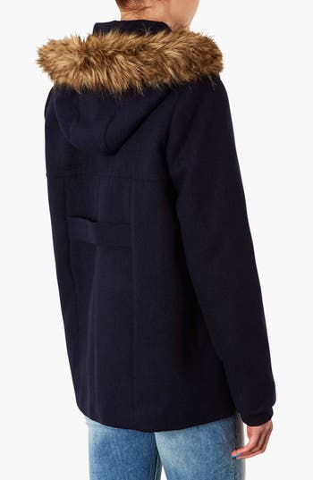 Alternate Image 2  - Topshop 'Edie' Faux Fur Trim Coat