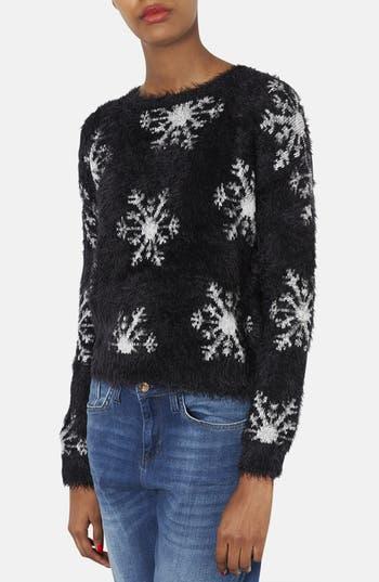 Alternate Image 1 Selected - Topshop Textured Snowflake Sweater (Petite)