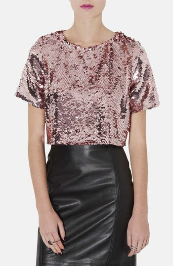 Main Image - Topshop Sequin Crop Tee