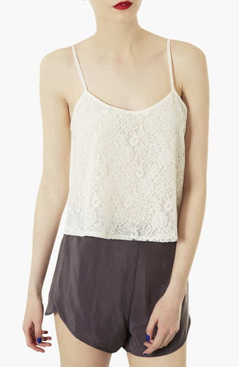 Main Image - Topshop Crop Lace Camisole