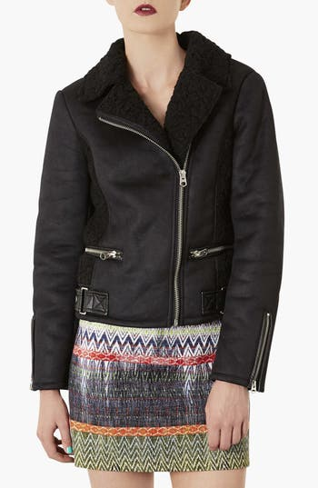 Alternate Image 1 Selected - Topshop Faux Shearling Biker Jacket