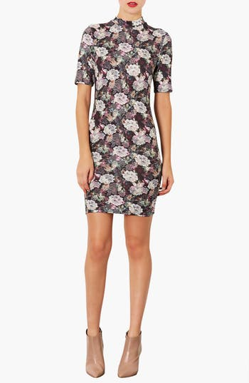 Main Image - Topshop Lace Print Mock Neck Dress